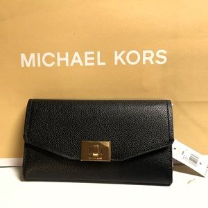 Michael Kors Cassie Large Trifold Wallet Black